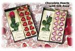 Red Silk Rose and Chocolate Hearts