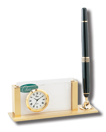 EXECUTIVE Card Holder Clock with Black Pen