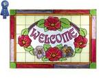 Welcome, Red Flowers, Horizontal Stained Glass Panel