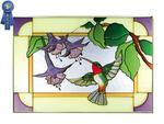 Hummingbird/Fuchsia, Horizontal Stained Glass Panel