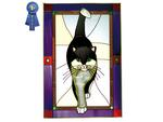 Cat (Black and White), Purple Border, Vertical Stained Glass Panel