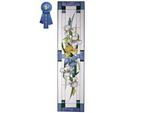 Irises, Blue, Vertical Stained Glass Panel