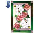 Roses, Pink, Vertical Stained Glass Panel
