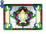 Victorian Classic, Burgundy, Horizontal Stained Glass Panel