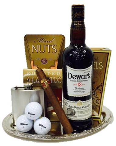 Dewars 12 Scotch Whiskey Golf Gift Basket