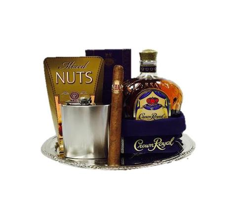 Crown Royal Whiskey & Flask Gift Basket